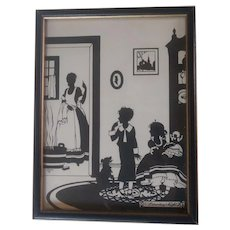 Vintage Framed Silhouette Picture of Family and Doll