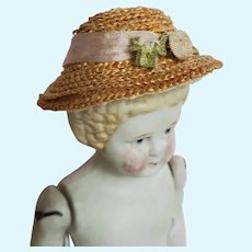 Artist Made Miniature Straw Hat for Antique Doll