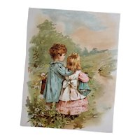 Antique Color Page from Victorian Era Child's Book - Children and Doll