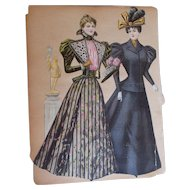 Four Antique Victorian Era Fashion Plate Paper Dolls