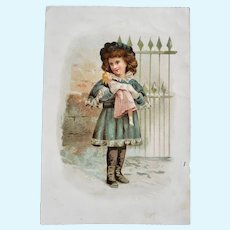 Antique Victorian Trade Card with Girl and Doll