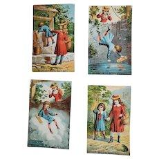 Set of 4 Comical Antique Trade Cards