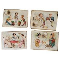Lot of 4 Antique Victorian Trade Cards - J & P Coats Thread