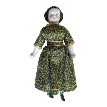 "6 1/2"" Antique Child China Head Doll - Rare Green Shoes"