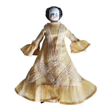 "Beautiful 8"" Antique China Head Doll With Corset"