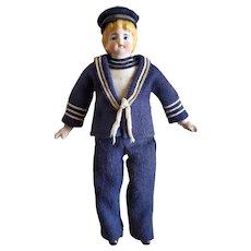 "8"" Antique Bisque Head Sailor Boy Doll"