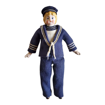 "8"" Antique Bisque Head Sailor Boy Doll"