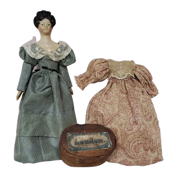 "9"" Antique Milliner's Model Doll With Fancy Hair Style & Wardrobe"