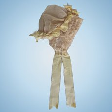 Girl's Antique Lace and Silk Ribbon Bonnet for Large Doll