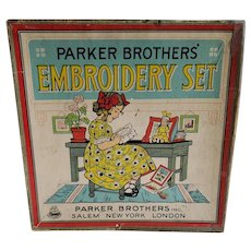 Antique Early 1900's Boxed Parker Brothers Embroidery Set