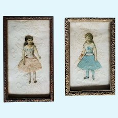 Two Antique Framed Victorian Era Paper Dolls