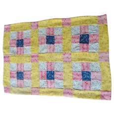 Doll Size Handmade Quilt with Antique Cotton Fabrics