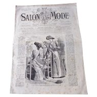 "1890 French Fashion Magazine ""Salon de Mode"""