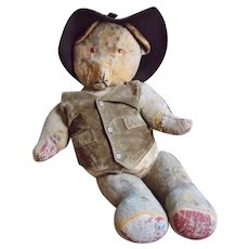 """Large 30"""" Antique Mohair Teddy Bear with Western Attire"""