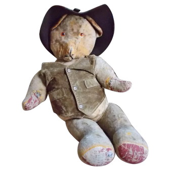 "Large 30"" Antique Mohair Teddy Bear with Western Attire"
