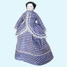 """8"""" Antique China Head Doll With Fabulous Antique Silk Costume"""