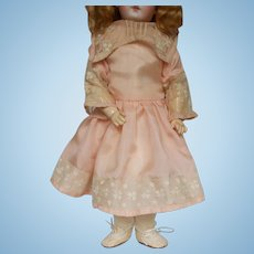 "Silk and Lace Dress for 14"" Antique Doll"