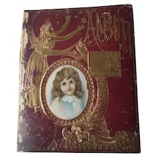 Outside and Inside Cover of Victorian Era Scrapbook Album