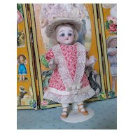 Two-Piece Dress and Straw Hat for All Bisque Doll