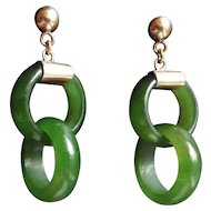 Vintage Chinese 10k Translucent Green Devil's Work Jade Earrings Pierced Ears