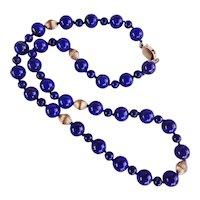 Royal Blue Lapis Lazuli Necklace 10 mm Beads