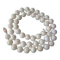 Vintage 14k Italian Mediterranean Coral Necklace 10mm Gems