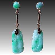 Chinese Vintage Art Deco 14k Apple Green Jadeite Earrings