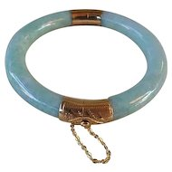 Vintage Chinese 14k Translucent Green Jadeite Bangle
