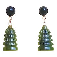 "Vintage Chinese 14k Green Nephrite Jade Carved Earrings 1"" Long"