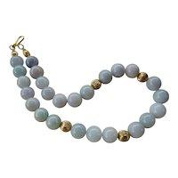 Vintage 14mm Jadeite Necklace Gold Vermeil Clasp