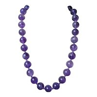 "Vintage Translucent Amethyst 5/8"" mm Beads Necklace Vermeil Clasp"