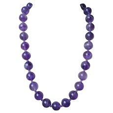 "Vintage Translucent Amethyst Round 5/8"" Beads Necklace Gold Vermeil Clasp"