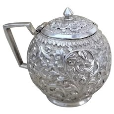 Antique 1890's Victorian Colonial Indian Solid Silver Repousse Hinged Lid Mustard Pot