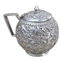 Antique 1890's Victorian Solid Silver Repousse Mustard Pot