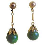 Vintage Art Deco 1920's 14k  Green Nephrite Jade Earrings Pierced Ears