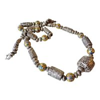 Chinese 1940's Fine Silver Repousse Cloisonne Necklace