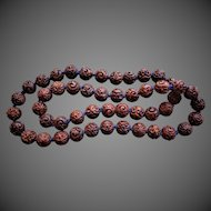 Vintage Chinese Export 1970's Hand Carved 15mm Wood Beads 34 Inches Length