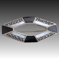 Vintage Art Deco Onyx Marcasite Mother Of Pearl Sterling Silver Brooch Pin