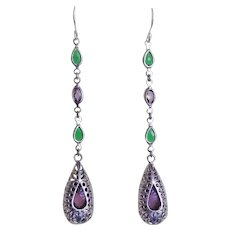Emerald Amethyst Sterling Silver Multi Gem Earrings Pierced Ears