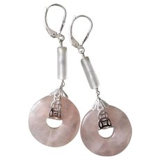 Vintage Carved Rose Quartz Sterling Silver Earrings