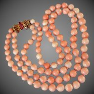 Vintage Angel Skin Coral 2 Strand Necklace Red Ruby Filigree Clasp