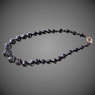 Antique 1860's Victorian Whitby Jet Carved Leaves Mourning Necklace