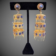 Antique Chinese Export Fine Silver Gilt Lantern Filigree Chandelier Earrings
