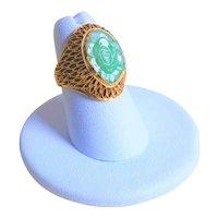 Vintage 1920's Chinese Export Art Deco Translucent Apple Green Jadeite Gold Vermeil Mesh Ring