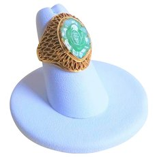 Vintage 1920's Chinese Export Art Deco Translucent Apple Green Jadeite Gold Vermeil Mesh Ring