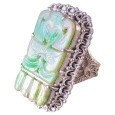 Vintage Chinese Export Art Deco Apple Green Jadeite Sterling Filigree Ring