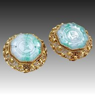 Vintage Chinese Art Deco Apple Green Jadeite Sterling Vermeil Filigree Clip On Earrings