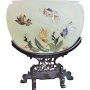 """Chinese 20thC. Large 12""""x13.5"""" Jade Coral Turquoise Carnelian Agate Table Screen Rosewood Stand"""