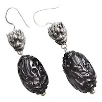 Vintage Carved Whitby Jet Sterling Silver Dragon Earrings