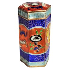 Chinese 20thC. Sterling Silver Gold Gilt Enamel Cloisonne Bats Hexagonal Opium Box
